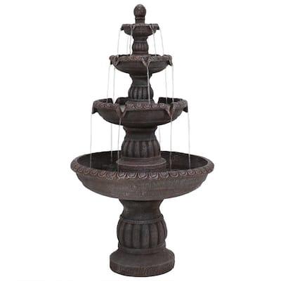 49 in. 4-Tiered Mediterranean Outdoor Water Fountain