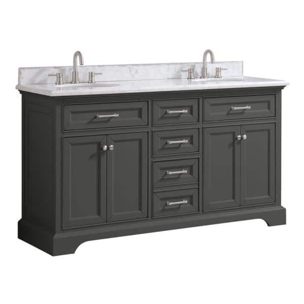 Home Decorators Collection Windlowe 61 In W X 22 In D X 35 In H Bath Vanity In Gray With Carrara Marble Vanity Top In White With White Sink 15101 Vs61c Gr The Home Depot