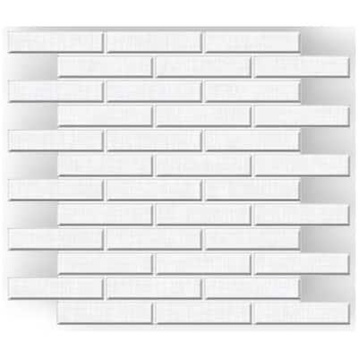 Royal Linen White 12 in. x 14 in. x 9mm Porcelain Linear Running Bond Mosaic (5 sq. ft. / case)
