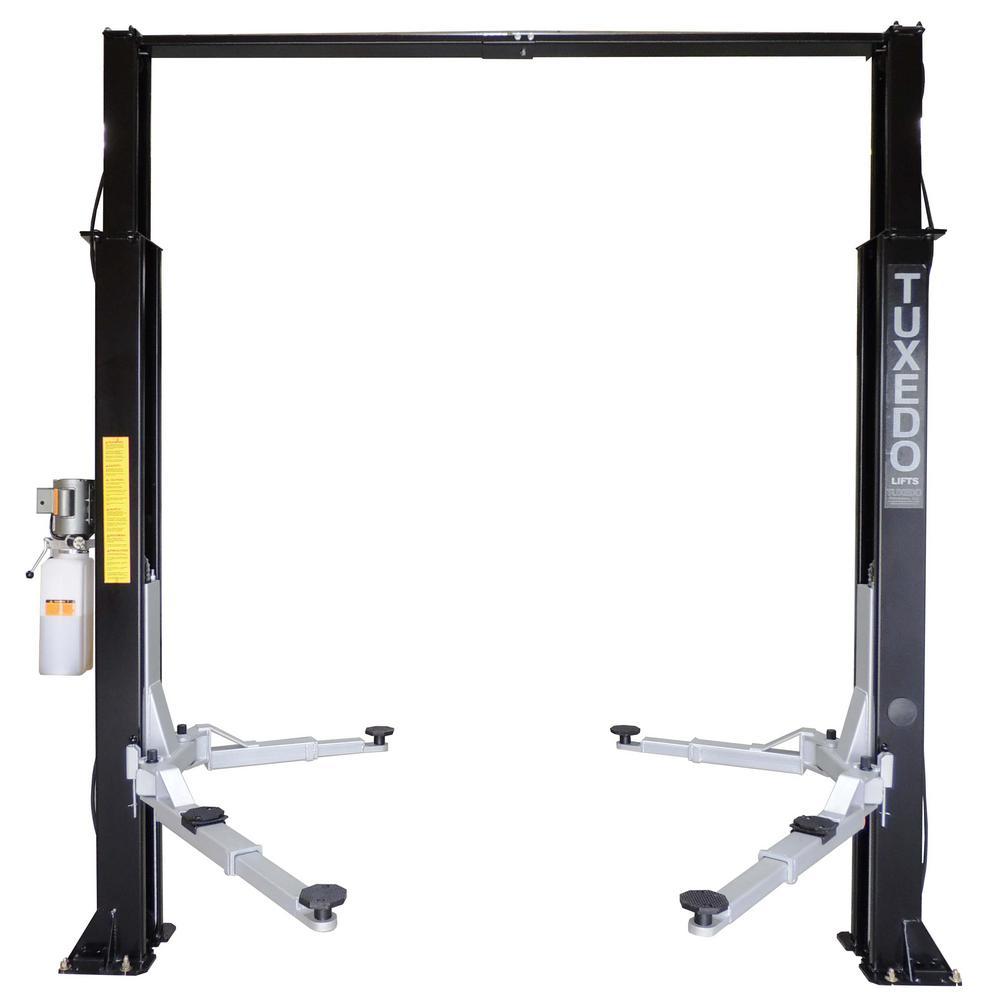 Asymmetric 2 Post Clear Floor 9,000 lbs. Capacity Heavy Duty in Black