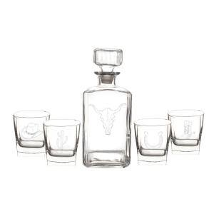 Western 34 oz. Glass Decanter with Whiskey Glasses