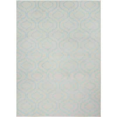 Jubilant Ivory/Blue 5 ft. x 7 ft. Moroccan Farmhouse Area Rug