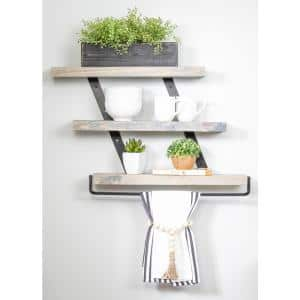 5.5 in. x 24 in. x 20 in. Gray Pine Wood Three-Tier with Towel Bar Decorative Wall Shelf with Brackets