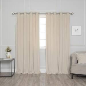 Beige Velvet Grommet Room Darkening Curtain - 52 in. W x 84 in. L