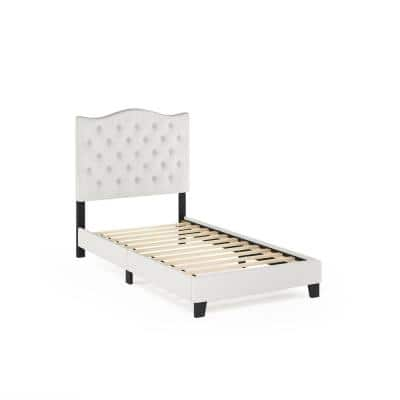 Abbyson Twin Linen Button Tufted Bed Frame