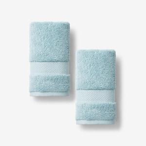 Legends Sterling Aqua Haze Solid Supima Cotton Fingertip Towel (Set of 2)