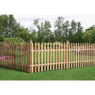 3-1/2 ft. x 8 ft. Western Red Cedar Spaced Picket French Gothic Fence Panel Kit