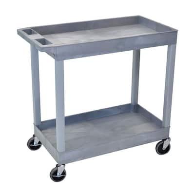 18 in. x 35 in. 2-Tub Shelf Utility Cart, Gray