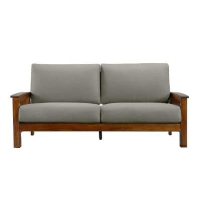 Omaha Dove Gray Linen Mission Style Sofa with Exposed Cherry Wood Frame