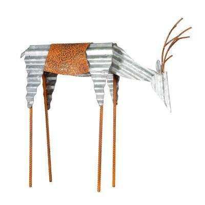 20 in. Tall Metal Rustic Grazing Reindeer Christmas Decoration