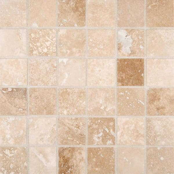Msi Ivory 12 In X 12 In X 10 Mm Honed Travertine Mesh Mounted Mosaic Tile 1 Sq Ft Thdw1 Sh Ivo2x2 The Home Depot