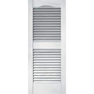 15 in. x 36 in. Louvered Vinyl Exterior Shutters Pair in White