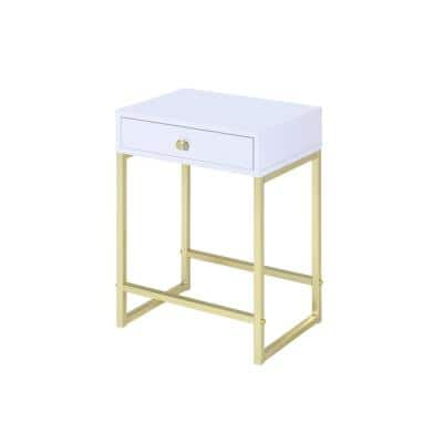 Coleen White and Brass Side Table