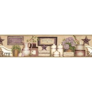 Martha Violet Country Bath Violet Wallpaper Border Sample