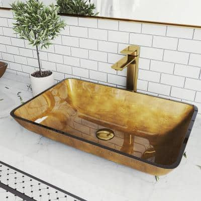 Glass Rectangular Vessel Bathroom Sink in Gold with Norfolk Faucet and Pop-Up Drain in Matte Gold