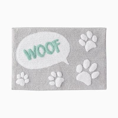 Multi 20 in. x 30 in. Cotton Scribble Pup Bath Rug