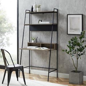 36 in. Rectangular Gray Wash/Black Ladder Desks with Cable Management