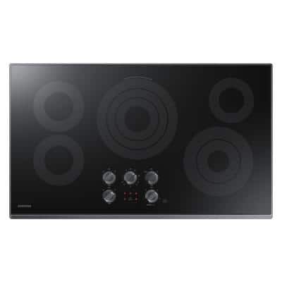 36 in. Radiant Electric Cooktop in Fingerprint Resistant Black Stainless with 5 Elements and Wi-Fi