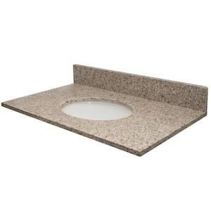 Vista 37 in. W x 22 in. D Granite Single Oval Basin Vanity Top in Granola with White Basin