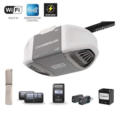 1-1/4 HP Equivalent Durable Chain Drive Smart Garage Door Opener with Battery Backup