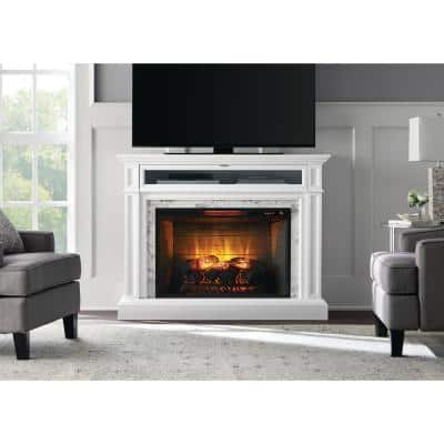 Alana 52 in. W Infrared Media Electric Fireplace in White
