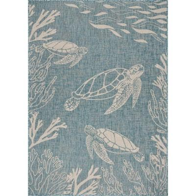 Tropical Blue/White 7 ft. 6 in. x 9 ft. 5 in. Turtle Reef Polypropylene Indoor/Outdoor Area Rug