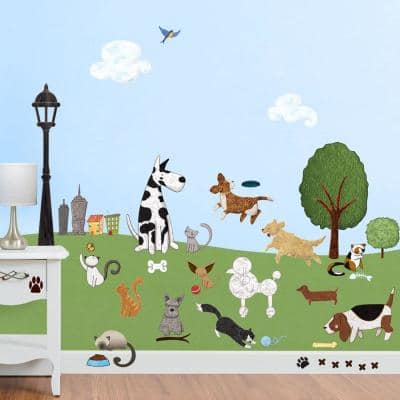 Cat and Dog Park Peel and Stick Removable Wall Decals Animal Theme (36-Piece Set)