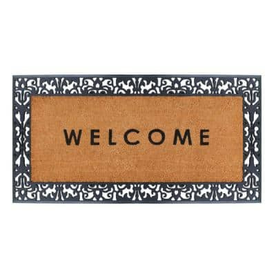 A1HC First Impression Welcome Black/Beige 30 in. x 60 in. Rubber and Coir,Heavy Duty, Extra Large Size Doormat