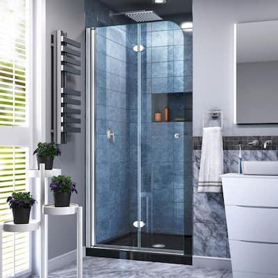 32 in. W x 74-3/4 in. H AquaFold Frameless Bi-Fold Shower Door in Chrome Acrylic Base Kit in Black