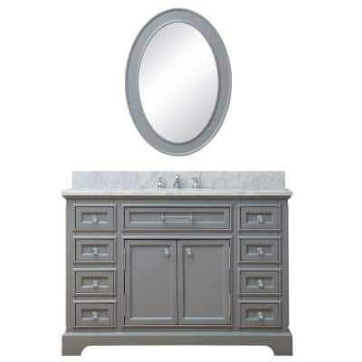 48 in. W x 21.5 in. D Vanity in Cashmere Grey with Marble Vanity Top in Carrara White, Mirror and Chrome Faucet