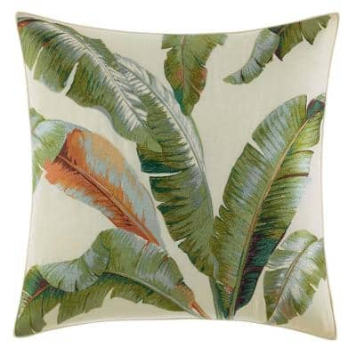 Palmiers Medium Green Floral Cotton Blend 20 in. x 20 in. Throw Pillow