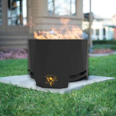 The Peak NHL 24 in. x 16 in. Round Steel Wood Patio Fire Pit -Pittsburgh Penguins