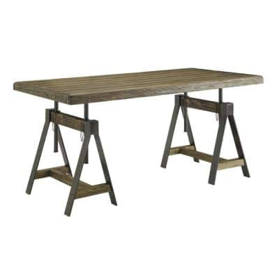 63 in. Rectangular Distressed Brown Writing Desk with Adjustable Height Feature