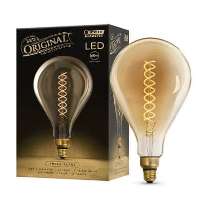 60W Equivalent PS50 Dimmable LED Amber Glass Vintage Edison Oversized Light Bulb With Spiral Filament Warm White