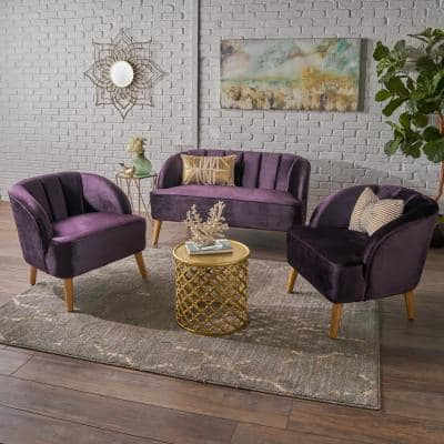 3-Piece Blackberry Velvet Loveseat and Club Chair Chat Set