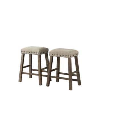 Brown Charleston 2 pack Accent BACKLESS STOOLS