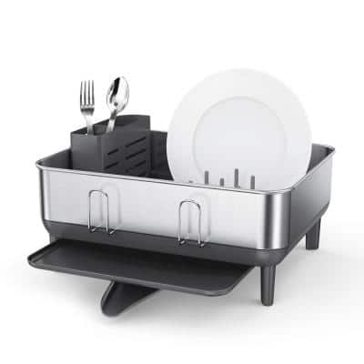Compact Brushed Stainless Steel Frame Standing Dish Rack