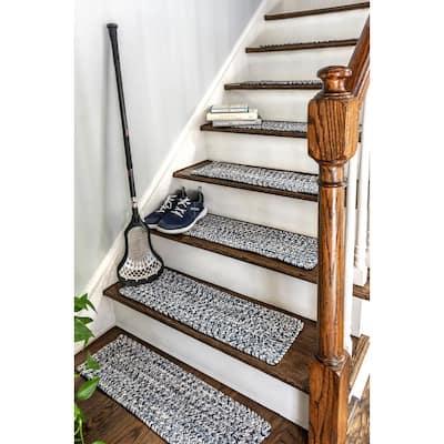 Light Blue 8 in. x 28 in. Stair Treads Braided Lefebvre Indoor/Outdoor