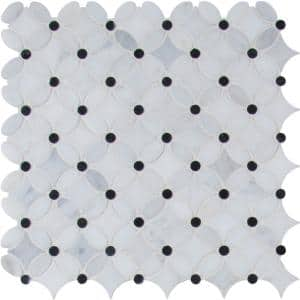 Marble Blossom 13.2 in. x 13.2 in. x 10 mm Polished Marble Mosaic Tile (12.1 sq. ft. / case)
