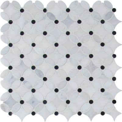Marble Blossom 13.2 in. x 13.2 in. x 10 mm Polished Marble Mesh-Mounted Mosaic Tile (12.1 sq. ft./Case)