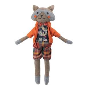 17 in. Brown and Orange Sitting Boy Herringbone Design Fox Plush