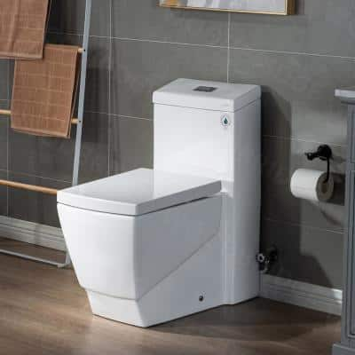 Prescott 1-Piece 1.0/1.6 GPF High Efficiency Square Elongated All-In One Toilet with Soft Closed Seat Included in White