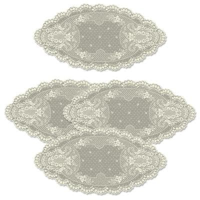 Floret 14 in. x 28 in. Ecru Lace Polyester Doily (Set of 4)