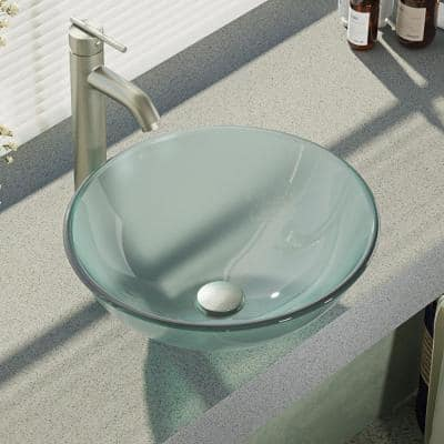 Glass Vessel Sink in Frosted with R9-7001 Faucet and Pop-Up Drain in Brushed Nickel