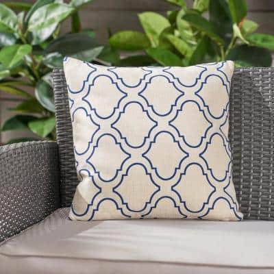 Moher Beige and Blue Square Outdoor Throw Pillow