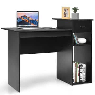 Product Width 22 in. Rectangle Black Metal 1 Drawer Computer Desk