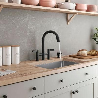 Otira 2-Handle Bridge Pull-Down Kitchen Faucet with Soap Dispenser and Sweep Spray in Matte Black