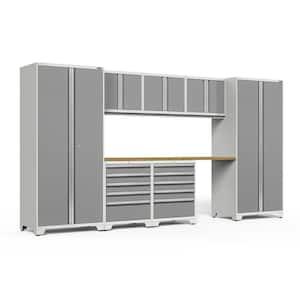 Pro Series 156 in. W x 84.75 in. H x 24 in. D 18-Gauge Welded Steel Garage Cabinet Set in Platinum (8-Piece)