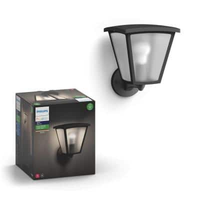 White Inara Black Outdoor LED Wall Lantern Sconce with Wireless A19 Smart Light Bulb