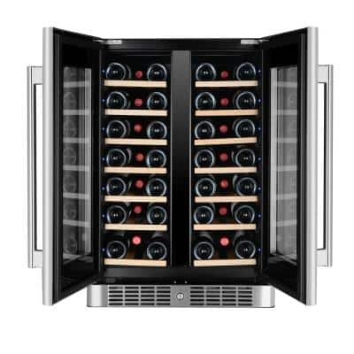 40-Bottle Dual Zone Wine Cooler Built-In with Compressor in Stainless Steel
